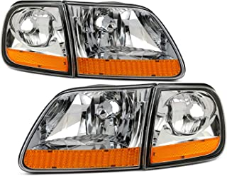 Fits 1997-2002 Ford F150 Expedition 97-99 F250 2004 F-150 Heritage [Halogen Type] Chrome Clear Headlight Pair Left+Right