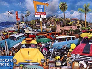 """The Jigsaw Puzzle Factory Classic Cars Motel, Bar & Drive Inn Puzzle Games for Adults and Kids Ages 12 and Up, Made in the USA, 750 Piece, Full Size is 18"""" X 24"""""""