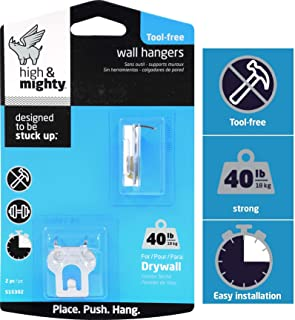 HIGH & MIGHTY 515302 2 Piece Picture Hanger, 40 lb, Silver