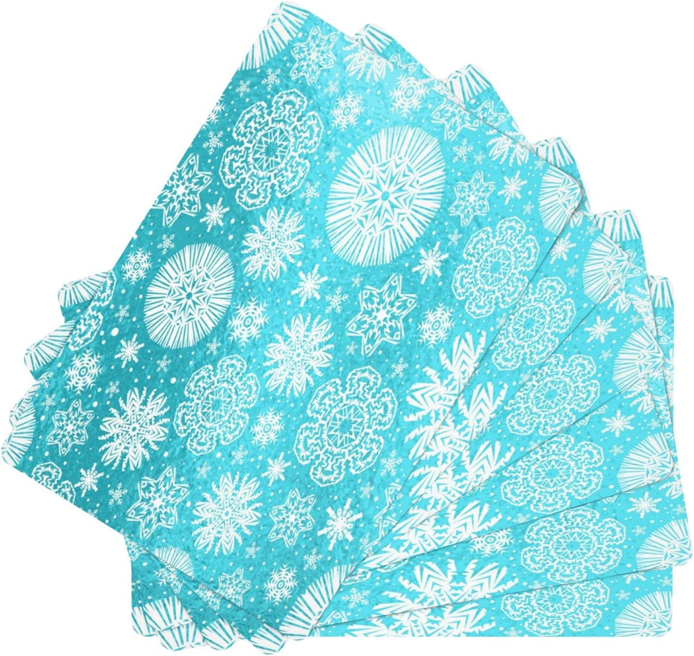 Blue Glossy Seasonal Wrap Introduction Christmas with Snowflake Leather Today's only Placemat Resi Stain