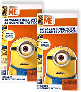 (2 PACK) Despicable Me Minions Set of 32 Valentine's Day Cards with 32 Scented Temporary Tattoos for Kids