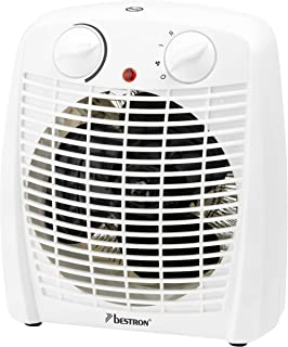 Bestron AFH211W Calefactor, Termostato, Control de Temperatura, 1000 Vatios, 2000 W, Plástico, Blanco