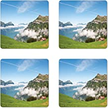 Lunarable Mountain Coaster Set of 4, Pastoral View Switzerland Lake Lucerne Cloudy Grassland Pines Altdorf Uri, Square Hardboard Gloss Coasters for Drinks, Blue Green White