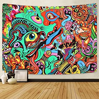 Psychedelic Arabesque Tapestry Abstract Hippie Tapestries Fantasy Trippy Tapestry Fractal Colorful Monster Tapestry for Ro...