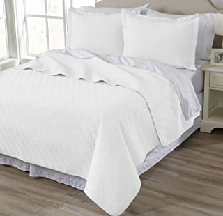 Home Fashion Designs 3-Piece All Season Quilt Set. Full/Queen Size Quilt with 2 Shams. Soft Microfiber Bedspread and Coverlet. Emerson Collection (White)