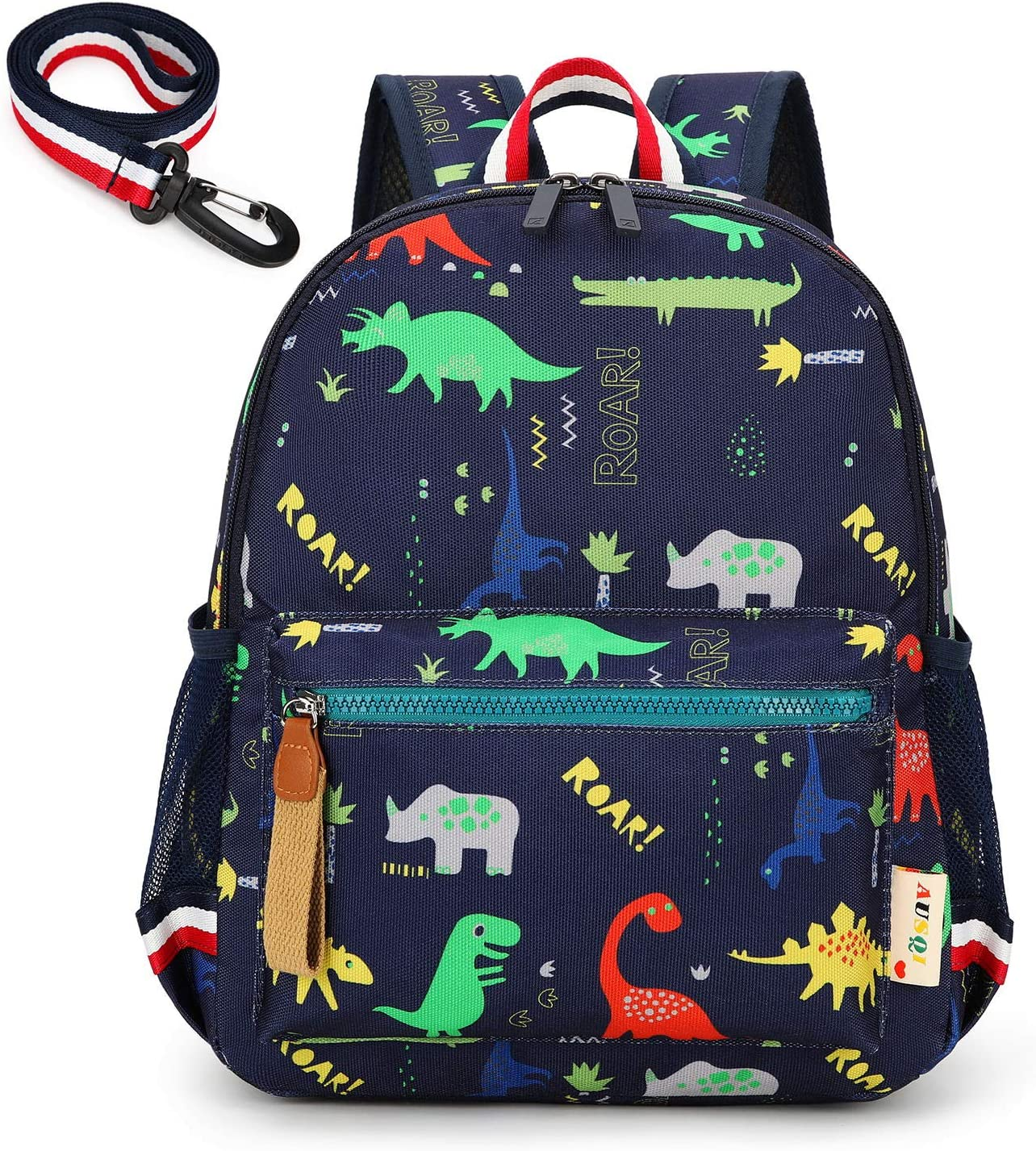 willikiva Cartoon Bus 12 Kindergarten Backpack for Kids Girls and Boys,Waterproof Preschool Toddler Backpack Wiht Leash and Safety Harness(Blue)