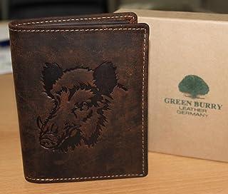 Greenburry/lefox G701 Wildboar - Cartera marrón con jabalí, para amantes de la caza, piel