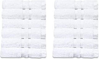 Eden Textile Hotel Hand Towels for AirBnB, Inns and Spas, Soft and Durable, 100% Cotton in White Patricia Set of 12