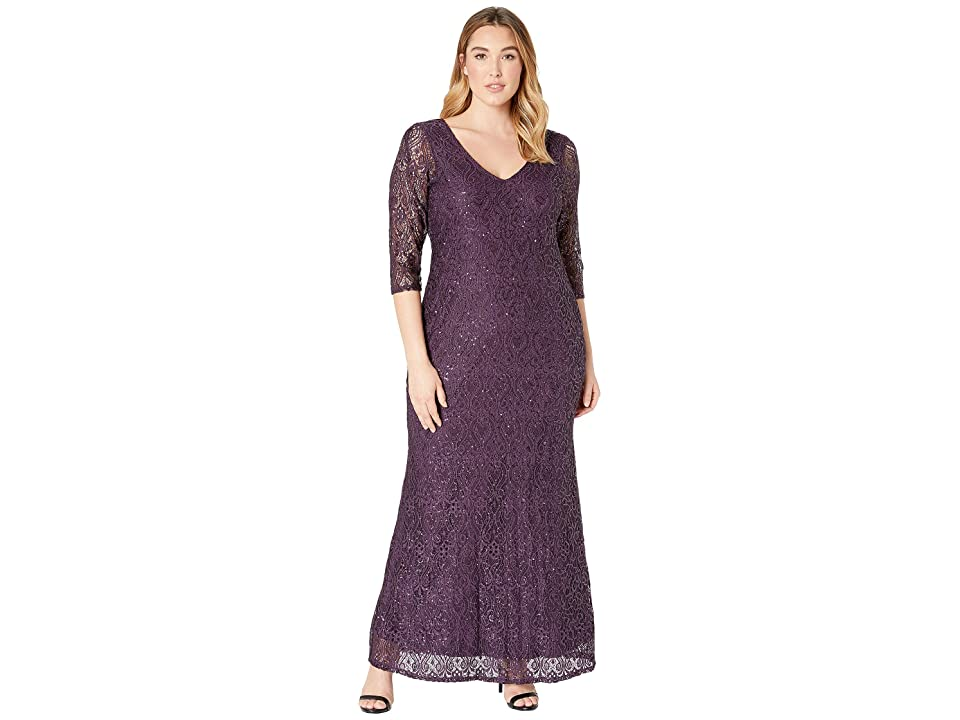 MARINA Plus Size Stretch Sequin Lace 3/4 Sleeve Gown (Eggplant) Women