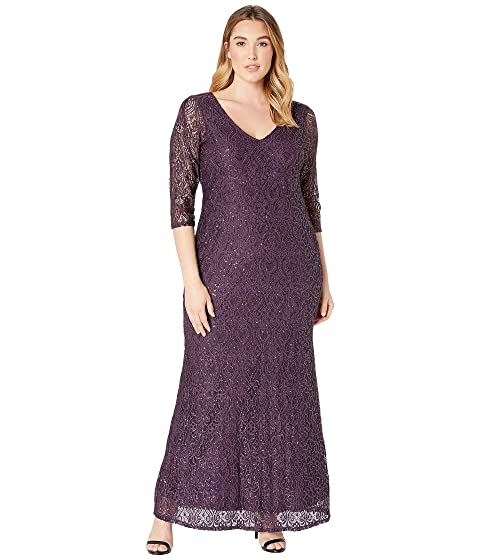 MARINA Plus Size Stretch Sequin Lace 3/4 Sleeve Gown, Eggplant