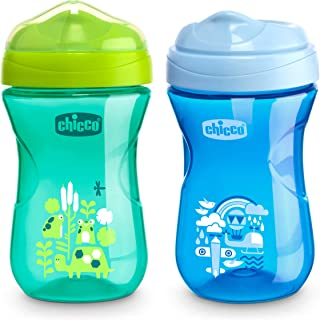 Chicco Rim Spout Trainer Spill Free Bite Proof Rim Baby Sippy Cup, 9 Months+, Blue/Teal, 9 Ounce, Pack of 2