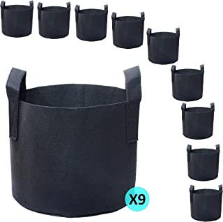PHYEX 9-Pack 3 Gallon Nonwoven Grow Bags, Aeration Fabric Pots with Durable Handles, Come with 9 Pcs Plant Labels