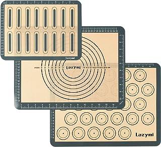 Lazymi 3 Pièces Tapis de Cuisson en Silicone, Anti-Adhérent Feuille de Cuisson Patisserie avec Mesures, Tapis de Four en S...