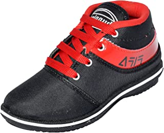 BUNNIES Boys&Girls Canvas Outdoor MULTISSPORST Training Kids Shoe (5 to 13 Years) Black & RED
