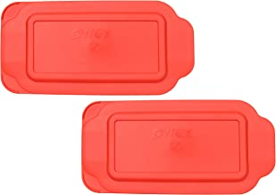 Pyrex 213-PC 1.5 Quart Red Rectangle Plastic Replacement Lid Cover for Loaf Pan - 2 Pack