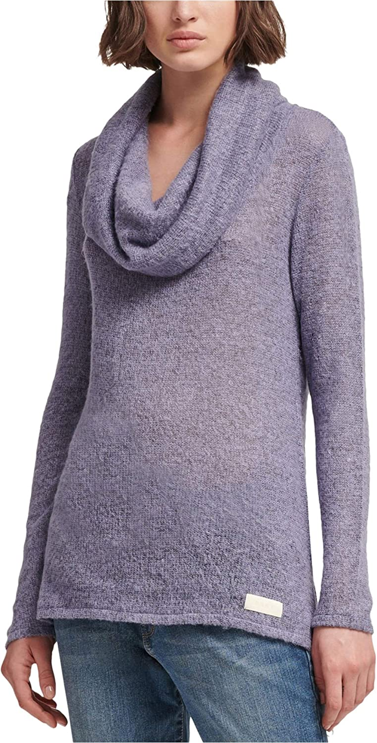DKNY Womens Cowl-Neck Pullover Sweater, Purple, Large
