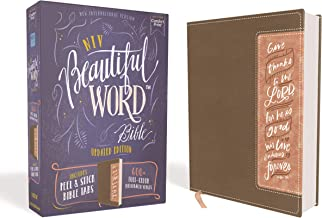 NIV, Beautiful Word Bible, Updated Edition, Peel/Stick Bible Tabs, Leathersoft, Brown/Pink, Red Letter, Comfort Print: 600+ Full-Color Illustrated Verses PDF
