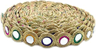 Round Shiny Mirror Lace 9 Mtr / 9.8 Yards Border for Dresses, Sarees, Suits, Blouses, Dupattas, Bags, Art & Craft - Multi