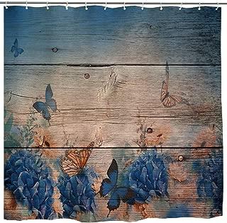 Flower Butterfly Shower Curtain, Vintage Monarch Butterfly Flower on Grunge Wooden Art Print, Rustic Waterproof Fabric Bathroom Decor Set with Hooks, 72 x 72