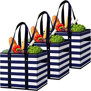 WiseLife Reusable Grocery Bags Boxes Storage Basket[3 Pack],Water Resistant Durable Shopping Bags Boxes, Collapsible Utili...