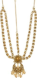Bindhani Indian Wedding Gold Plated Maang Tikka Bridal Bollywood Style Matha Patti Traditional Mang Tika Jewellery Damini ...