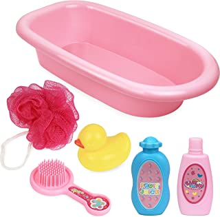 Click N' Play Baby Doll Bathtub & Accessories Pretend Playset Set of 6, Multicolor