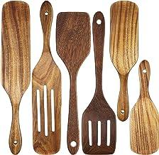 6 Pieces Wooden Cooking Utensils Wooden Spoons for Cooking Utensils Set, Wooden Spatula Slotted Turner Teak Spatula Spurtl...