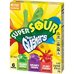 Super Sour Gushers Fruit Flavored Snacks, Crabby Apple, Grumpy Grape, Scary Cherry, 6 Count, 4.8 oz