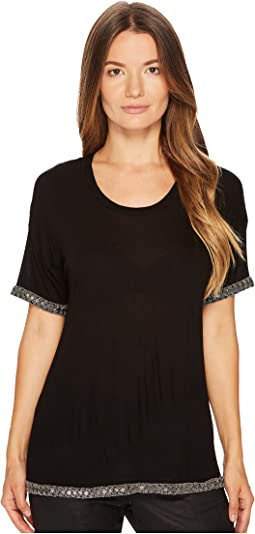 T-Shirt with Embroidery at the Neck, Sleeves and Hem