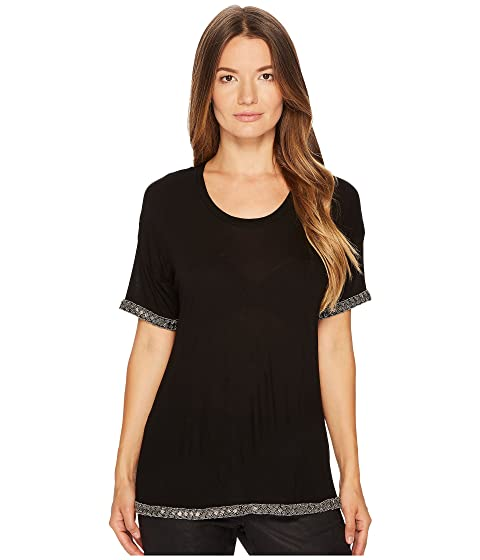 The Kooples T-Shirt with Embroidery at the Neck, Sleeves and Hem