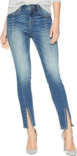 High-Rise Ankle Skinny with Studs and Embroidery in Medium Blue