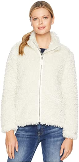 Light Sherpa Fur Classic Zip Jacket with Heather Knit Lining