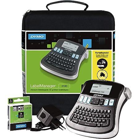 DYMO LabelManager 210D kit de etiquetadora portátil   teclado QWERTY   con etiquetas D1 de 12 mm de impresión negra sobre fondo blanco y maletín de ...