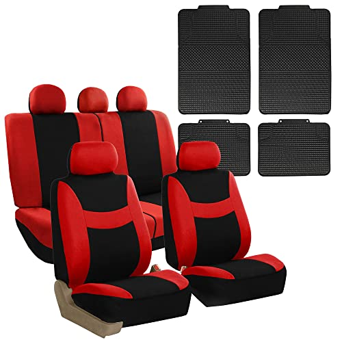 FH GROUP FB030115 Combo Set: Light & Breezy Cloth Seat Cover Set + F11300BLACK Floor