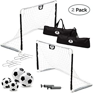 Morvat Soccer Goal Set for Backyard, Outdoor Games Soccer Net, Soccer Goals for Kids, Soccer Accessories, Pop Up Soccer Goals, Set of 2, Includes 2 Goal Nets, Ball and More, Black and White