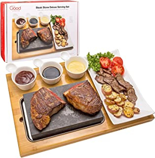 "Cooking Stone- Complete Set Lava Hot Steak Stone Plate Tabletop Grill and Cold Lava Rock Hibachi Grilling Stone (8 1/8"" x ..."