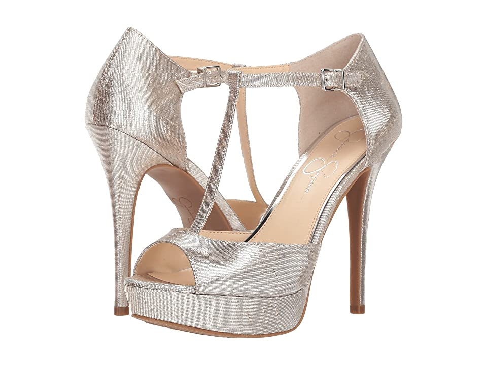 Jessica Simpson Bansi (Shimmer Silver Metallic Shine Fabric) High Heels