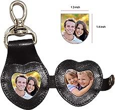 Wise Owl Accessories 3D Leather Keychain Cute Heart shape Leather Keyring Handbag Purse Charm Key Ring (heart-photoframe)