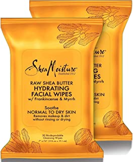 SheaMoisture Makeup Remover Face Wipes,Raw Shea Butter, Removes Makeup & Dirt to Clarify Skin Without Rinsing Or Drying. 3...