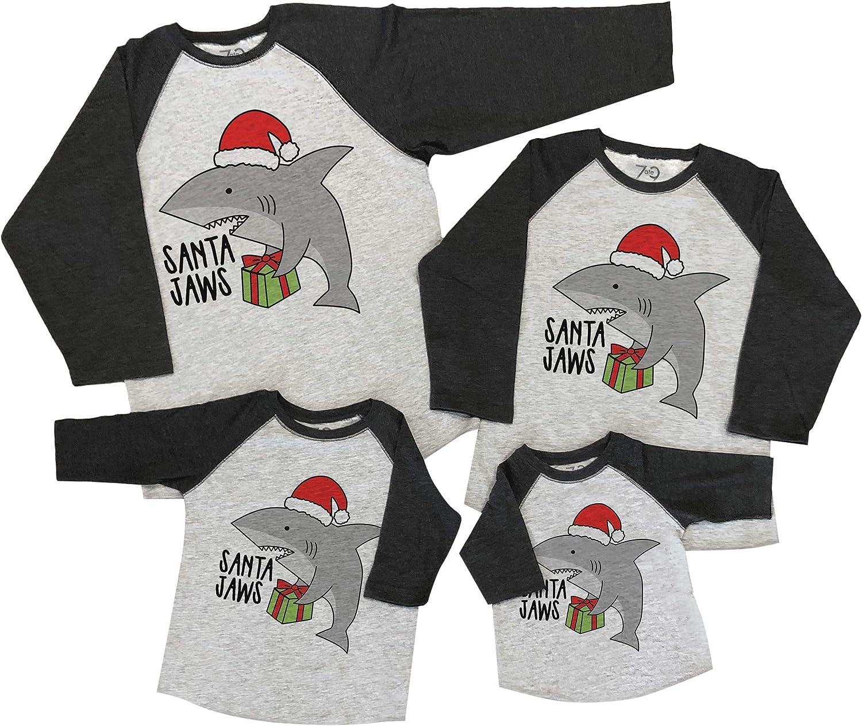 7 ate 9 Apparel Matching Family Christmas Shirts - Santa Shark Grey Shirt