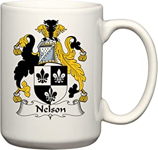 Nelson Coat of Arms/Nelson Family Crest 15 Oz Ceramic Coffee/Cocoa Mug by Carpe Diem Designs, Made in the U.S.A.