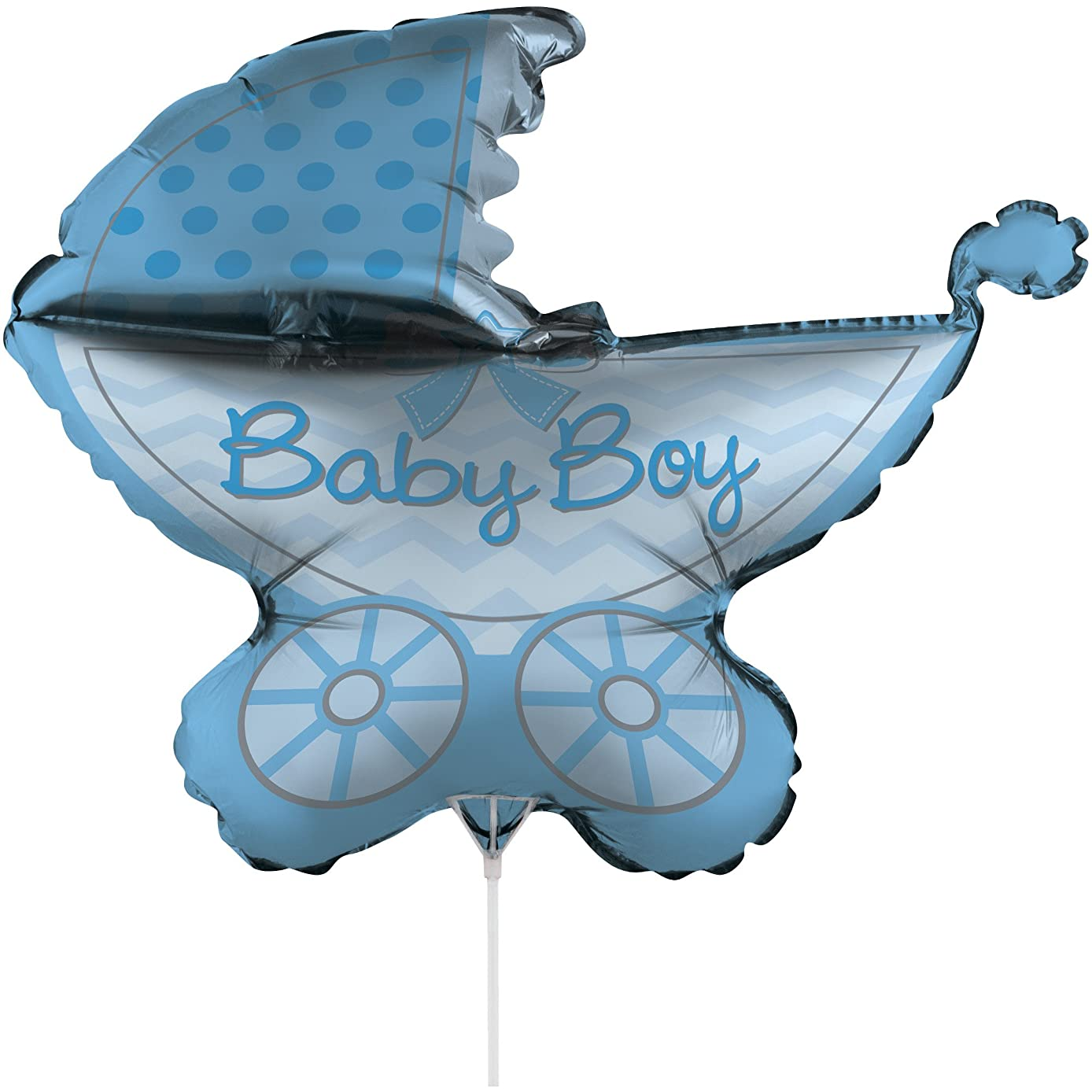 Creative Converting Air-Filled It's a Boy Stroller Balloon with Stick and Joiner, 30