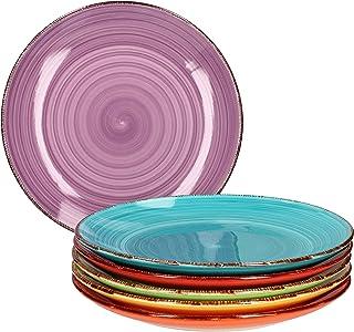 Ensemble d'assiettes 6 pièces Uni coloré I assiette à dîner I assiette menu I assiette de service ronde I accessoires de t...