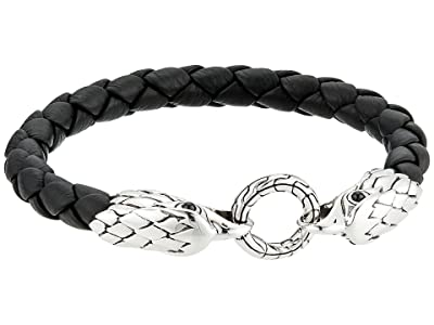 John Hardy Legends Eagle Double Head 8mm Bracelet and Black Leather (Silver) Bracelet