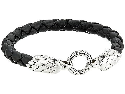 John Hardy Legends Eagle Double Head 8mm Bracelet and Black Leather