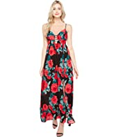 Brigitte Bailey - Kenia Spaghetti Strap Rose Print Maxi Dress