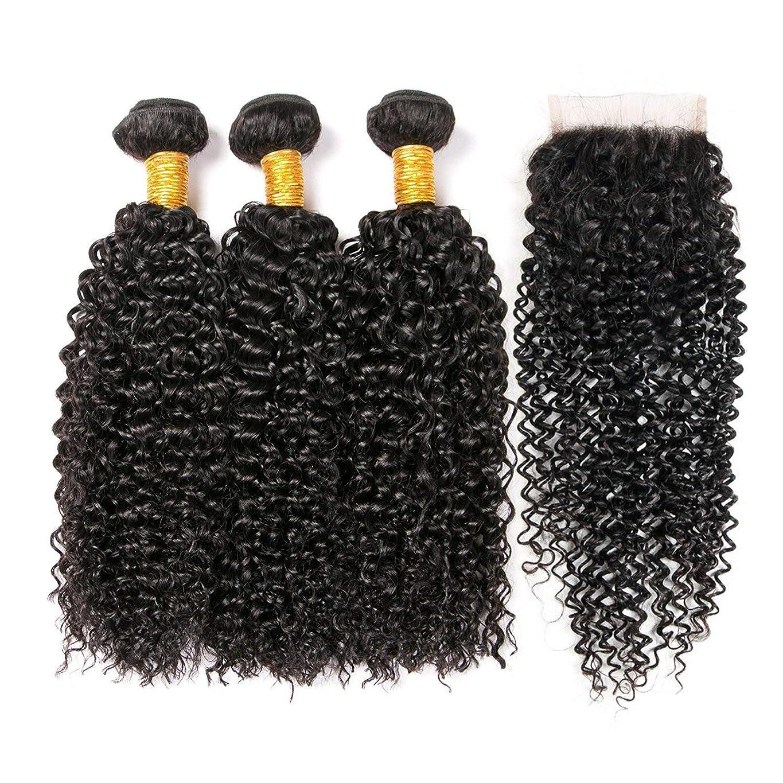 根拠部屋を掃除するすすり泣きかつらかつら延長カーリー人間の髪のクロージャブラジルのその他の特徴カーリーヘアの束