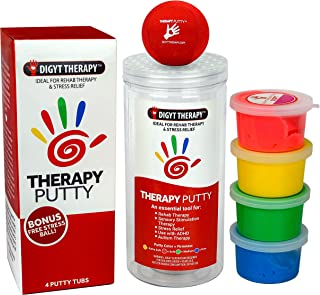 DIGYT Therapy Putty and Stress Ball Kit - Occupational Therapy and Sensory Toys for Hand Therapy, Fine Motor Control, Grip and Mobility - Stress Relief Balls for Kids and Adults - ADHD Fidget Toys