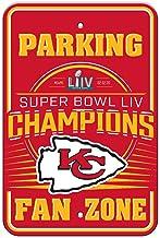 Fremont Die NFL Kansas City Chiefs Super Bowl 2020 Champions Plastic Parking Sign, red, One Size