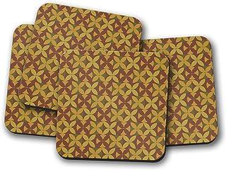 Posavasos de diseño retro marrón y verde de los años 70, posavasos individuales o juego de 4